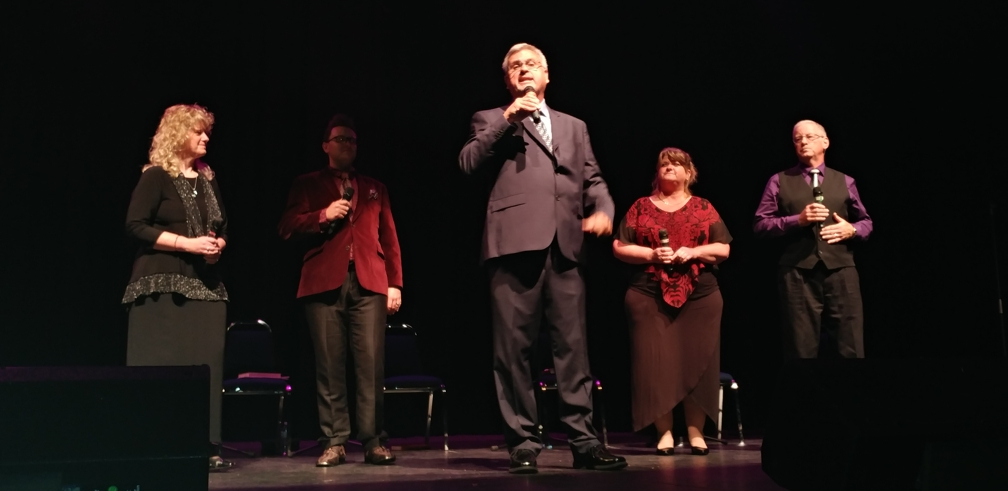 Dan Hoddinott on stage with Decision Quartet. From traditional quartet numbers to variety acts, storytelling and audience-participation hymn singing, a Then Sings My Soul concert is a memorable experience.